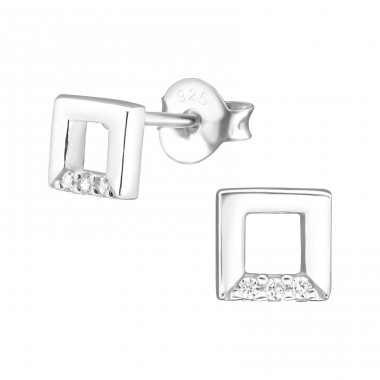 Square - 925 Sterling Silver Ear Studs with Zirconia stones A4S30933