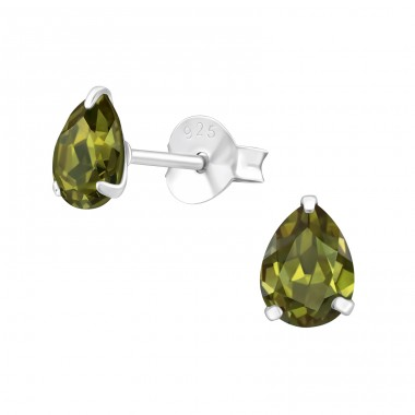 Pear 4X6Mm - 925 Sterling Silver Ear Studs with Zirconia stones A4S31127