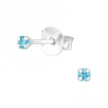 Round 2mm - 925 Sterling Silver Ear Studs with Zirconia stones A4S31128