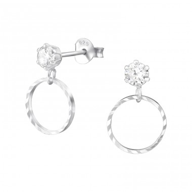 Hanging Circle - 925 Sterling Silver Ear Studs with Zirconia stones A4S31358