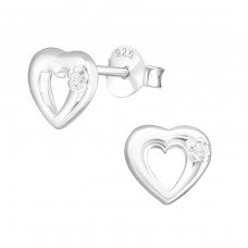 Heart - 925 Sterling Silver Ear Studs with Zirconia stones A4S3171