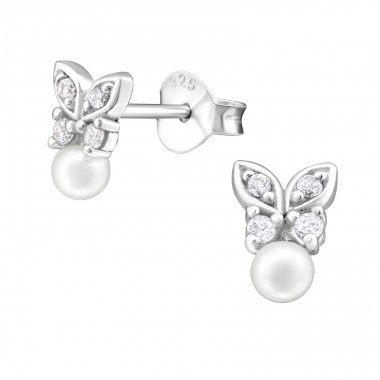 Butterfly - 925 Sterling Silver Ear Studs with Zirconia stones A4S32058