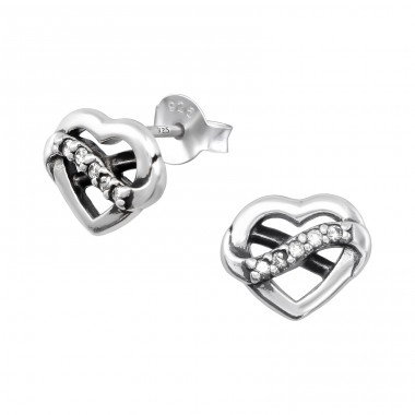 Heart - 925 Sterling Silver Ear Studs with Zirconia stones A4S32074