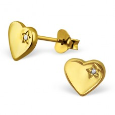 Heart - 925 Sterling Silver Ear Studs with Zirconia stones A4S3219