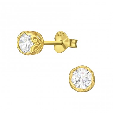 Round 4mm - 925 Sterling Silver Ear Studs with Zirconia stones A4S3244