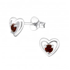 Heart - 925 Sterling Silver Ear Studs with Zirconia stones A4S33214