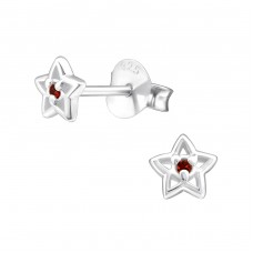 Star - 925 Sterling Silver Ear Studs with Zirconia stones A4S33215
