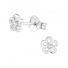 Flower - 925 Sterling Silver Ear Studs with Zirconia stones A4S33216