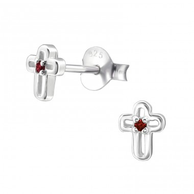 Cross - 925 Sterling Silver Ear Studs with Zirconia stones A4S33217