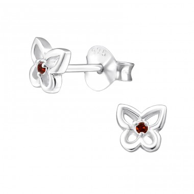 Butterfly - 925 Sterling Silver Ear Studs with Zirconia stones A4S33218