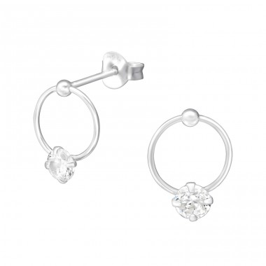 Round - 925 Sterling Silver Ear Studs with Zirconia stones A4S33708
