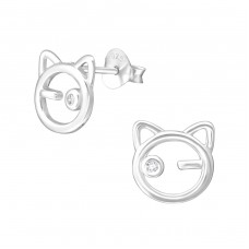 Cat - 925 Sterling Silver Ear Studs with Zirconia stones A4S33850