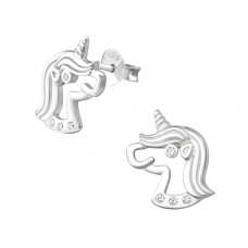 Unicorn - 925 Sterling Silver Ear Studs with Zirconia stones A4S33860