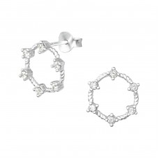 Round - 925 Sterling Silver Ear Studs with Zirconia stones A4S33872