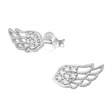 Wing - 925 Sterling Silver Ear Studs with Zirconia stones A4S33875