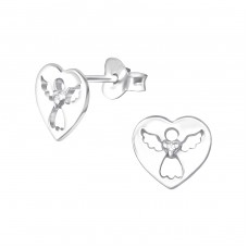 Angel - 925 Sterling Silver Ear Studs with Zirconia stones A4S33878