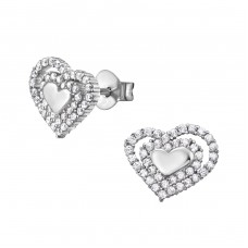 Heart - 925 Sterling Silver Ear Studs with Zirconia stones A4S34342