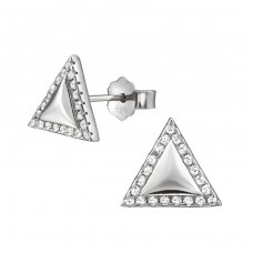 Triangle - 925 Sterling Silver Ear Studs with Zirconia stones A4S34371