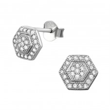Hexagon - 925 Sterling Silver Ear Studs with Zirconia stones A4S34399