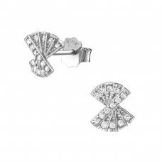 Fan - 925 Sterling Silver Ear Studs with Zirconia stones A4S34405