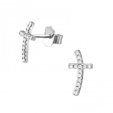 Cross - 925 Sterling Silver Ear Studs with Zirconia stones A4S34407