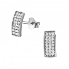Bar - 925 Sterling Silver Ear Studs with Zirconia stones A4S34413