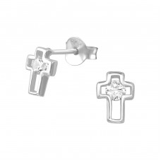 Cross - 925 Sterling Silver Ear Studs with Zirconia stones A4S35087