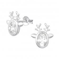 Reindeer - 925 Sterling Silver Ear Studs with Zirconia stones A4S35224