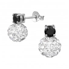 Crystal Ball - 925 Sterling Silver Ear Studs with Zirconia stones A4S35286
