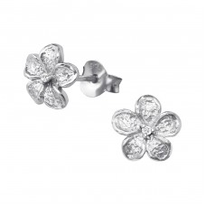 Flower - 925 Sterling Silver Ear Studs with Zirconia stones A4S35579