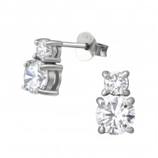Sparkling - 925 Sterling Silver Ear Studs with Zirconia stones A4S35944