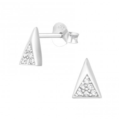 Triangle - 925 Sterling Silver Ear Studs with Zirconia stones A4S36136