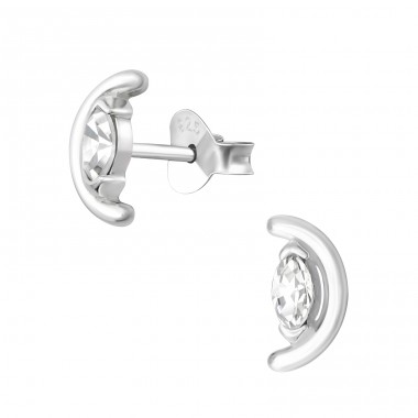 Semi Circle - 925 Sterling Silver Ear Studs with Zirconia stones A4S36146