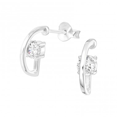 Half Hoop - 925 Sterling Silver Ear Studs with Zirconia stones A4S36671