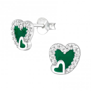 Heart - 925 Sterling Silver Ear Studs with Zirconia stones A4S36772
