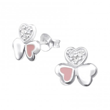 Triple Heart - 925 Sterling Silver Ear Studs with Zirconia stones A4S36773