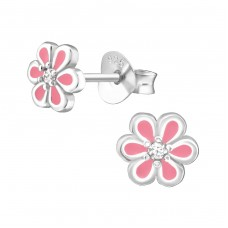 Flower - 925 Sterling Silver Ear Studs with Zirconia stones A4S36774