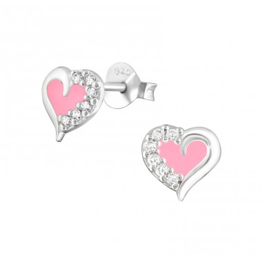 Heart - 925 Sterling Silver Ear Studs with Zirconia stones A4S36775