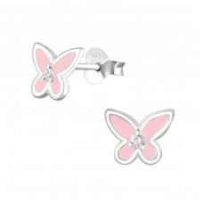 Butterfly - 925 Sterling Silver Ear Studs with Zirconia stones A4S36776