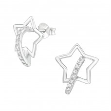 Star - 925 Sterling Silver Ear Studs with Zirconia stones A4S36777