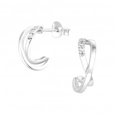 Half Hoop - 925 Sterling Silver Ear Studs with Zirconia stones A4S36778