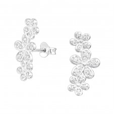 Flowers - 925 Sterling Silver Ear Studs with Zirconia stones A4S36779