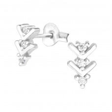 Arrow - 925 Sterling Silver Ear Studs with Zirconia stones A4S36780