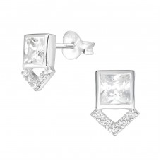 Geometric - 925 Sterling Silver Ear Studs with Zirconia stones A4S36781