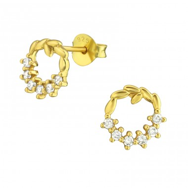 Wreath - 925 Sterling Silver Ear Studs with Zirconia stones A4S36782