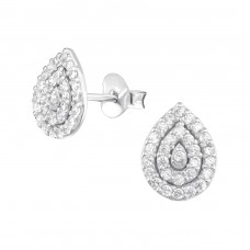 Pear - 925 Sterling Silver Ear Studs with Zirconia stones A4S36783