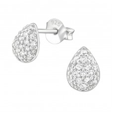 Pear - 925 Sterling Silver Ear Studs with Zirconia stones A4S36784
