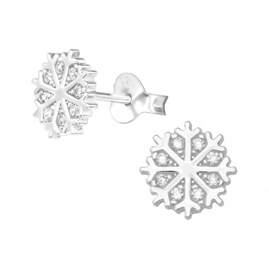 Snowflake - 925 Sterling Silver Ear Studs with Zirconia stones A4S36785