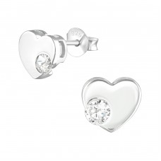 Heart - 925 Sterling Silver Ear Studs with Zirconia stones A4S36787