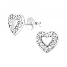 Heart - 925 Sterling Silver Ear Studs with Zirconia stones A4S36788